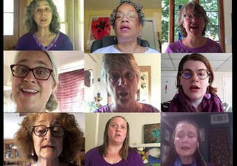 Nine women from Calliope Feminist Choir practicing/singing in a Zoom call.
